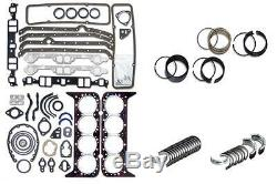 Chevy Sbc 350 5.7l 2 Pc Seal Engine Rering Remain Kit Bearings Gaskets Rings