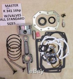 Kohler 16hp K341 master rebuild kit withvalves, standard piston and rod withtune up