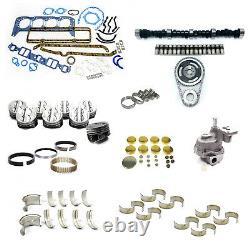 Début Sbc Chevy 350 5.7l Marine Master Engine Rebuild Kit Camshaft Pistons